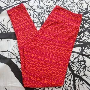 4/$25 LuLaRoe Leggings TC Pink & Orange Print